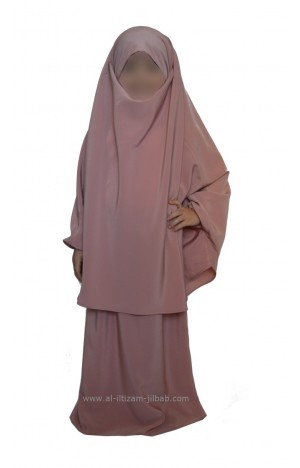 Jilbab fillette rose